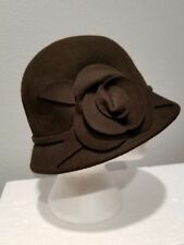Scala Women's Wool Cloche Bowler Hat with Self Flower Brown and Black NWT