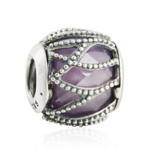 Genuine 925 sterling silver charm bead Abstract charms faceted purple Fit bangle