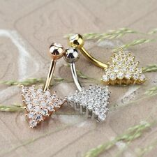 """CZ PAVED TRIANGLE BELLY BUTTON RING NAVEL PIERCING BODY JEWELRY (14G 3/8"""")"""