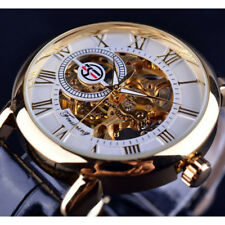 FORSINING Mens Golden Dial Date Automatic Vintage Skeleton Mechanical Watch Gift