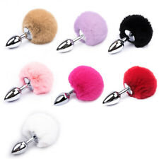 Unisex Stainless Steel Fluffy Fur Rabbit Tail Plug Stopper Butt Adult Funny Toys
