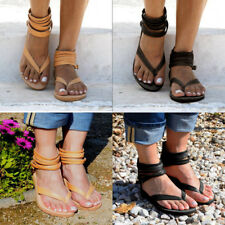 Womens Gladiator Zip Ankle Strap T-Strap Flip Flop Strappy Flat Beach Shoes Size
