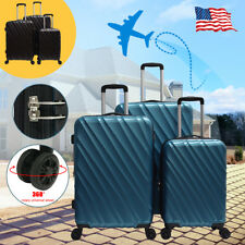 3PCS ABS Luggage Set w/ TSA Lock Travel Bag Trolley Spinner 4 Wheels Suitcase US