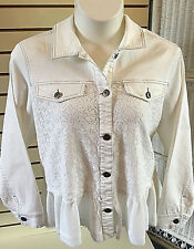 Kate & Mallory Ivory Lace Detail Ruffle Unfinished Hem Denim Jacket Plus Size 2X