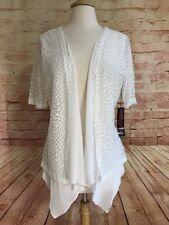 Simon Chang Womens White Lace Overlay Cardigan Open Front Sheer Top Waterfall