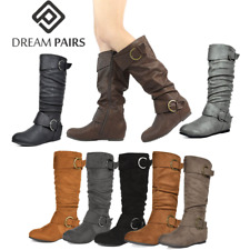 DREAM PAIRS Womens Mid Calf Knee High Low Hidden Wedge Boots Wide-Calf Available