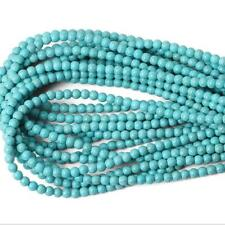 """Howlite Turquoise Stone Beads for Jewelry Making Round Gemstones 15.5"""" a Strand"""