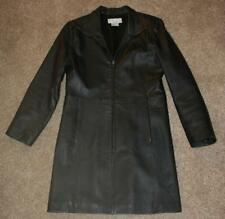 REAL COMFORT Black Leather Jacket Small Coat Long Zip Up Mint Chest: 39