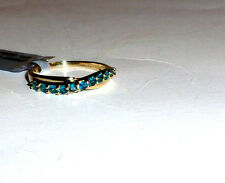 10K Yellow Gold Rare Blue Neon Apatite Round Band Ring, Sz 7 & 8, 0.35(TCW) 1.7G