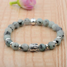 Bracelet Green Stones Buddha Head Natural Agate Fashion Spring Ring Unisex Beads