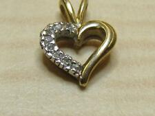 14k Yellow Gold Jewelry Small Heart Shaped Pendant w/ Tested Diamond Accents