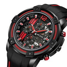 Megir Mens Quartz Analog Sport WristWatch Chronograph Date Silicone Band