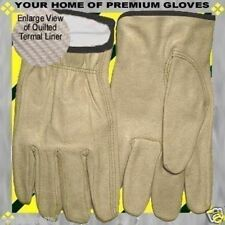 S-M-L-XL-Winter Thermal Insulated Premium Drive Work Cowhide Look Leather Glove