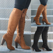 Womens Faux Suede Side Zipper Block Heel Knee High Mid Calf Lace Up Boots Shoes