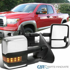 Fit 07-17 Toyota Tundra Chrome Power Heated Tow Side Mirrors+Amber LED Signal (Fits: Tundra)