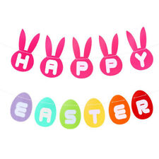 Easter Greeting Banners Decorative Photo Props Streamers Rabbit Colorful Bunting