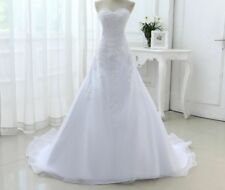 Organza Strapless Wedding Dresses Beach Classic Beaded Sequined Lace Bride Gowns