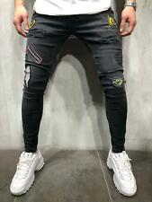 Distressed Jeans Streetwear Patched Ripped Skinny Fit Casual Street Fashion 4109