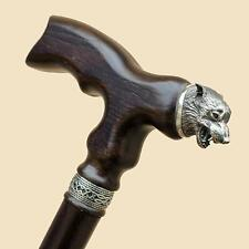 Wolf Wooden Walking Stick Canes for Men - Sturdy Unique Hand Carved Wood Cane