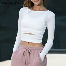 2018 Women Gym Yoga Crop Tops Yoga Shirts Long Sleeve Workout Tops
