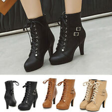 Womens Platform Spike High Heel Buckle Strap Lace Up Booties Ankle Boots Ladies