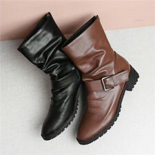 New Women Back Zip Up Autumn Slouch Boots Chunky Heel Ankle Boots Buckle Strap