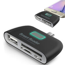 4 in 1 OTG/TF/SD Smart Type-C Card Reader Adapter Micro USB Charge Ports#J