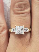 2.50 Ct 14K Real Gold Princess Cut 3 Stone Engagement Wedding Promise Ring