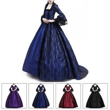 Womens Elegant Lace Long Sleeve Ball Gown Victorian Medieval Costume Maxi Dress