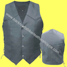 MENS GOAT SKIN LEATHER VEST SIDE LACES MOTORCYCLE BIKER