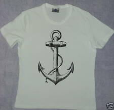 WHITE GIRLIE T SHIRT PUNK ANCHOR TATTOO PIRATE