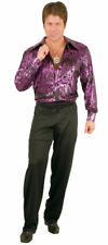 Purple Flame Hologram Disco Shirt Pimp Adult Costume