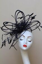 New Large Black feather Fascinator Hat wedding