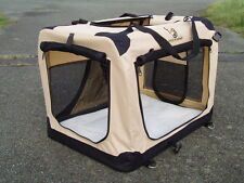 TOA Folding Fabric Dog Pet Crate Carrier FREE Fleece Liner. Vehicle Anchor point