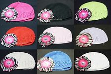 Crochet Cap Hat Headgear Hot Pink Zebra Daisy for Skirt