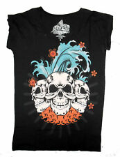 BLACK TIKI SKULL SURF LONG TOP IRON FIST S M XL SURFER