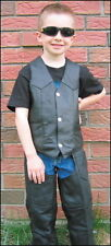 NEW CHILDS  BOYS GIRLS KIDS BIKER GENIUNE LEATHER MOTORYCLE VEST 3XLARGE