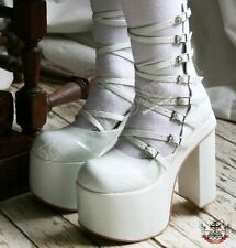 "Cyber Gothic White Bridal Lolita 8 Strap Buckle 6"" Boot"