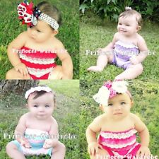 Lot 4 Double Color Baby Lace Ruffles Petti Romper NB-3Y