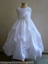 NEW WHITE PAGEANT BRIDESMAID FLOWER GIRL DRESS S - 20