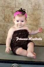 Xmas NewBorn Baby Brown Girl Child Petti One Piece Lace Ruffles Romper NB-3Year