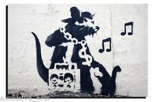 BANKSY GRAFFITI ART - DEEP FRAMED WALL ART CANVAS PRINT - RAP RAT - 4 SIZES