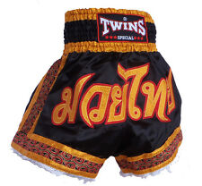 "TBS-18 Short boxe Thailandaise Muay Thai TWINS ""black-gold"" polyester / satin"