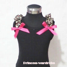 Black Pettitop Tank Top with Bows Hot Pink Leopard Ruffles For Pettiskirt NB-8Y