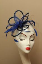 New Royal Blue Wedding Races Fascinator Hat Choose any colour satin & feathers