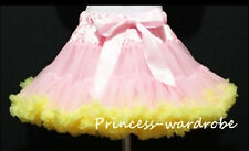 Light Pink Yellow FULL Pettiskirt Skirt Petti Party Dance Tutu Dress Girl 1-8Y