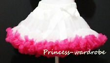 Pure White Hot Pink FULL Pettiskirt Skirt Petti Party Dance Tutu Dress Girl 1-8Y