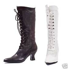 Womens White or  Black Victorian Lace Granny Steampunk Boots sizes 6 7 8 9 10