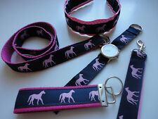 Preppy Horse Equestrian Pink and Navy  Ribbon Accessory Gift Sets or Individual