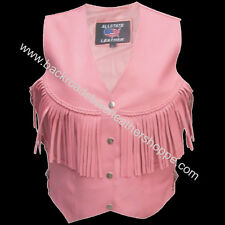 Ladies Womens Pink Leather Motorcycle Biker Vest with Fringe  SIZES XS-3X